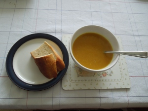 Homemade Pumpkin Soup with Homemade Bread